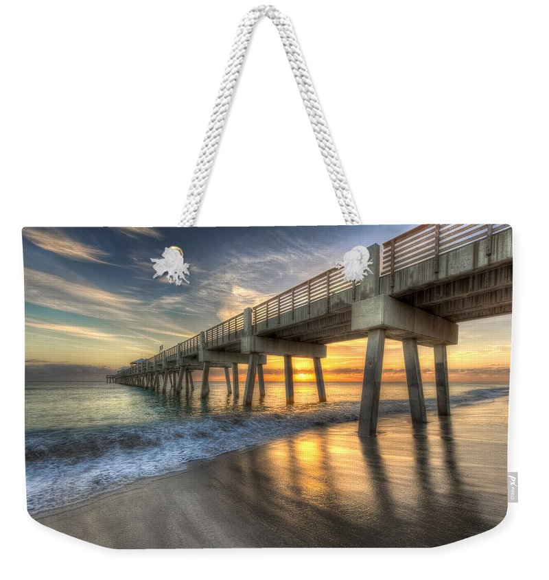 Blue Weekender Tote Bag featuring the photograph Peaceful Surf by Debra and Dave Vanderlaan