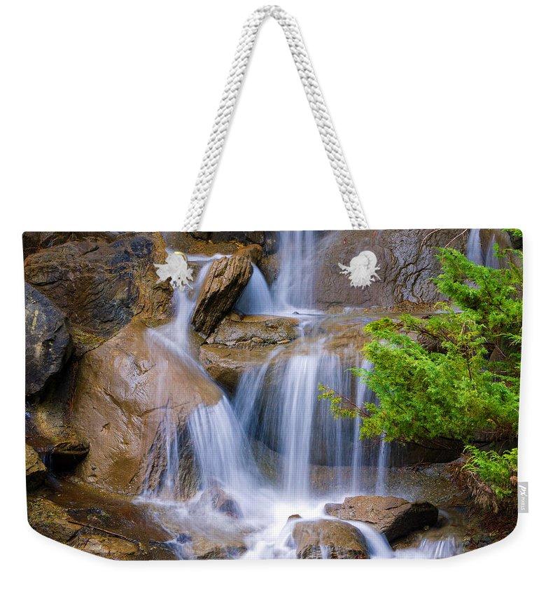 Waterfall Weekender Tote Bag featuring the photograph Peaceful Waterfall by Jordan Blackstone