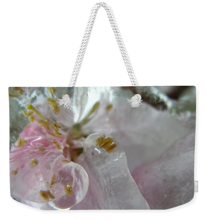 Peach Weekender Tote Bag featuring the photograph Peach Blossom In Ice Three by Sheri Lauren