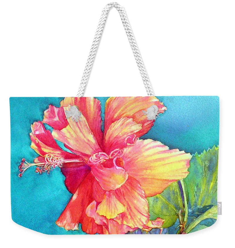 Hybiscus Weekender Tote Bag featuring the painting Peach Paradise by Annika Farmer