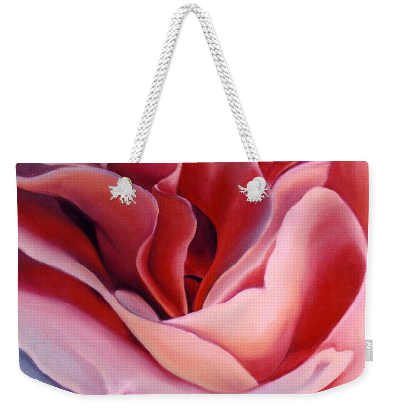 Flower Prints Weekender Tote Bag featuring the painting Peach Rose by Anni Adkins