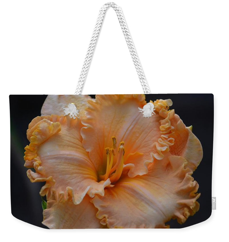 Peach Ruffled Lily Weekender Tote Bag featuring the photograph Peach Ruffled Lily by Maria Urso