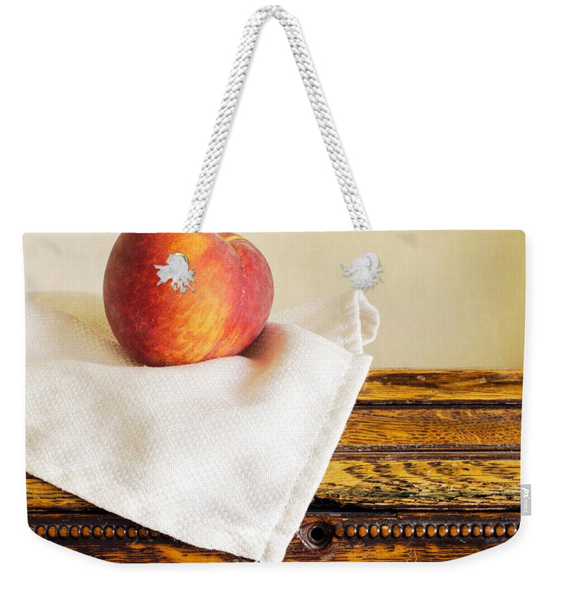 Fresh Weekender Tote Bag featuring the photograph Peach Still Life by Edward Fielding