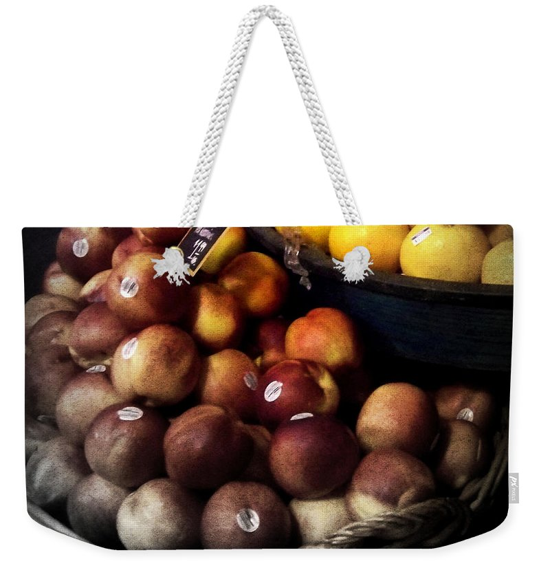 Peaches Weekender Tote Bag featuring the photograph Peaches And Lemons Antique by Miriam Danar