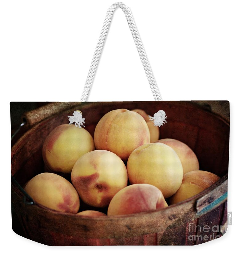 Peaches Weekender Tote Bag featuring the photograph Peaches In A Basket by Pam Holdsworth
