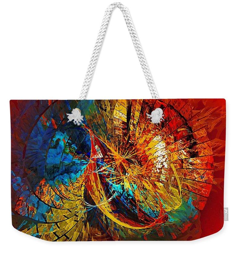 Abstract Weekender Tote Bag featuring the digital art Peacock 3 by Marek Lutek