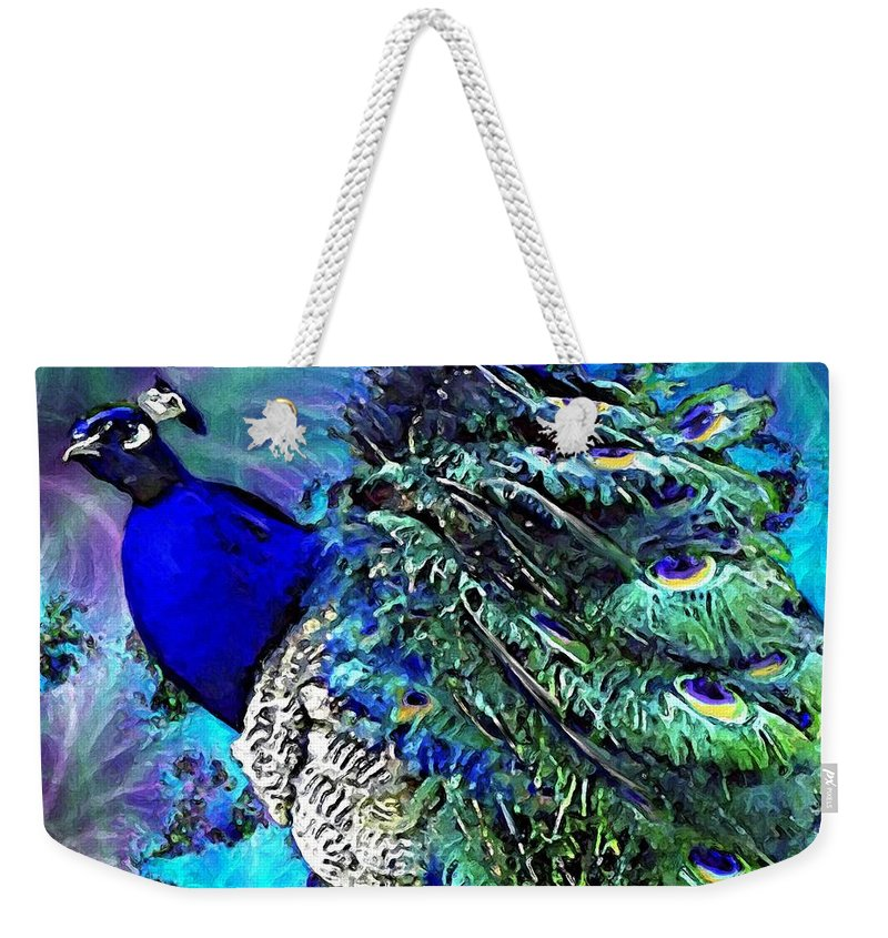 Peacock Weekender Tote Bag featuring the painting Peacock Bird Of Beauty by Susanna Katherine