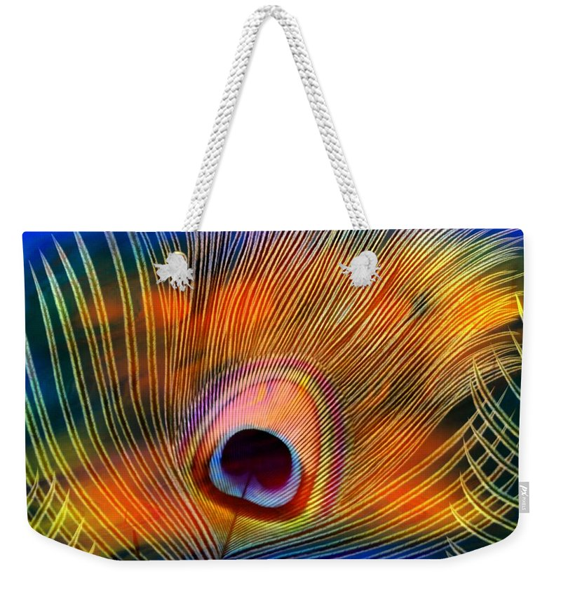 Feather Weekender Tote Bag featuring the photograph Peacock Feather by Joyce Baldassarre