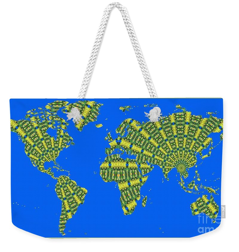 World Map Weekender Tote Bag featuring the photograph Peacock Feather World Map by Rose Santuci-Sofranko