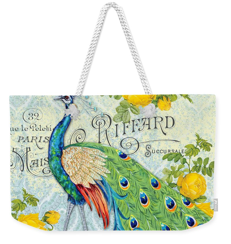 Acrylic Painting Weekender Tote Bag featuring the painting Peacocks In The Rose Garden-3 by Jean Plout