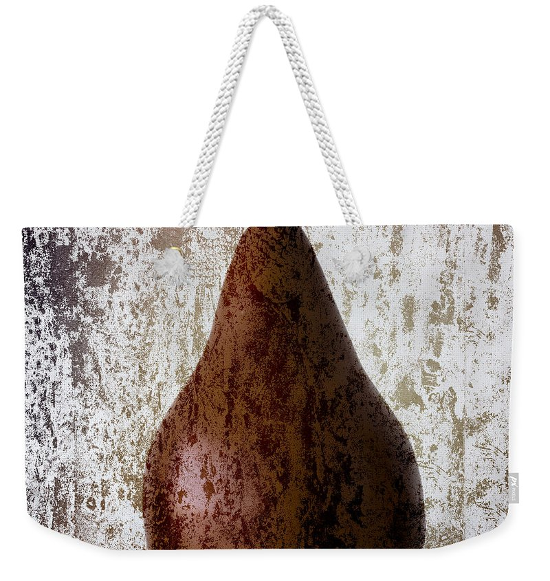 Pear Weekender Tote Bag featuring the photograph Pear On The Rocks by Carol Leigh