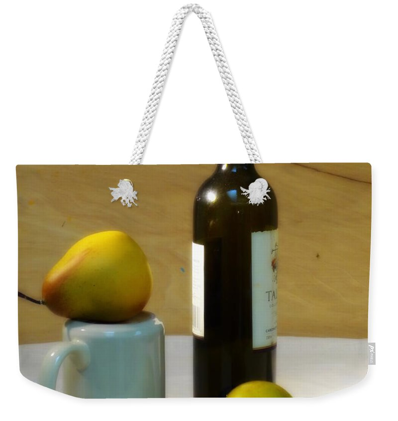 Setting Weekender Tote Bag featuring the photograph Pears And Wine by Deborah Crew-Johnson