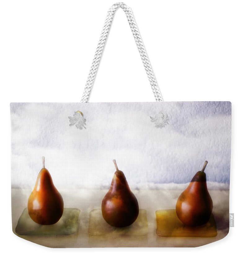 Pear Weekender Tote Bag featuring the photograph Pears In The Clouds by Carol Leigh