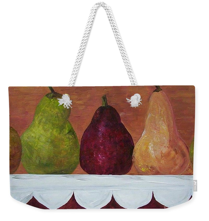 Pear Weekender Tote Bag featuring the painting Pears On Parade  by Eloise Schneider Mote