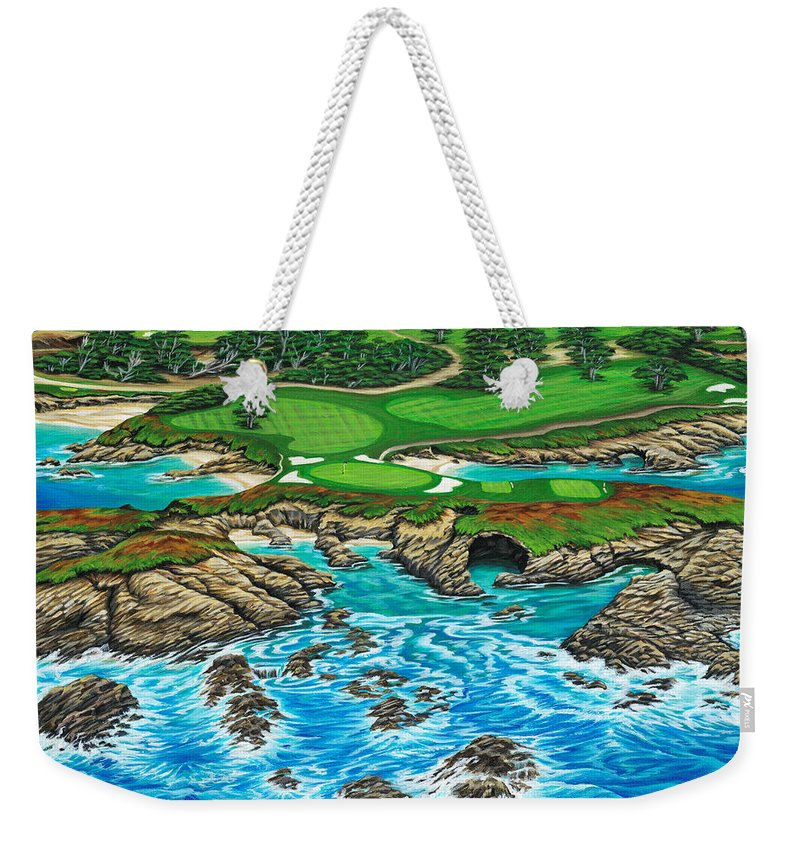 Ocean Weekender Tote Bag featuring the painting Pebble Beach 15th Hole-north by Jane Girardot