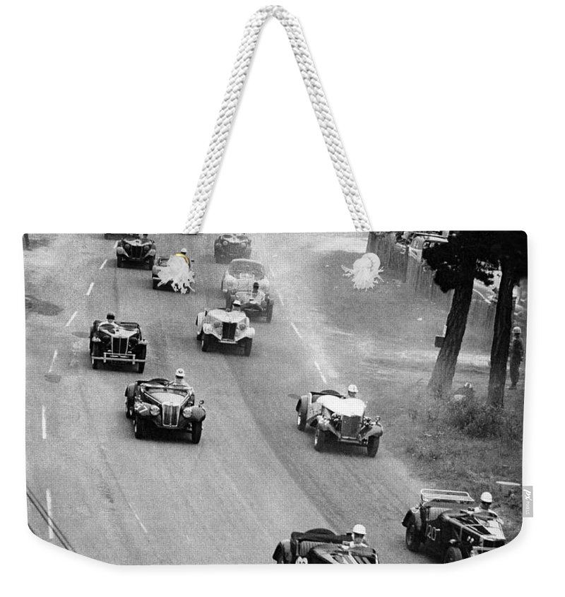 2000-047-0001 Weekender Tote Bag featuring the photograph Pebble Beach California Sports Car Races Auto Road Race April 11 1954 by California Views Archives Mr Pat Hathaway Archives