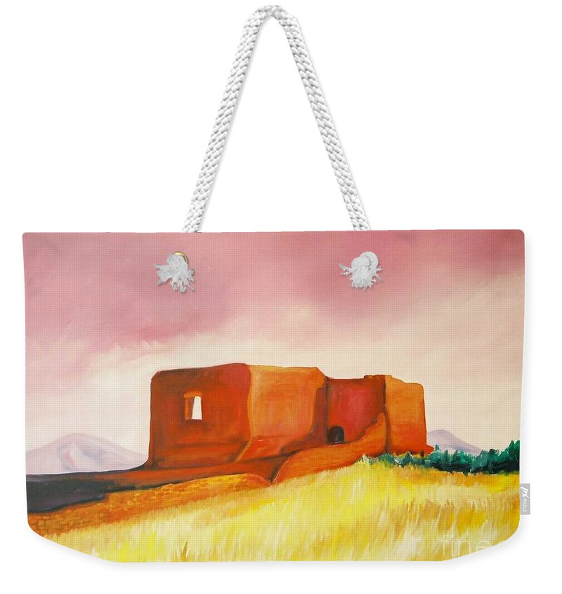 Western Landscapes Weekender Tote Bag featuring the painting Pecos Mission Nm by Eric Schiabor