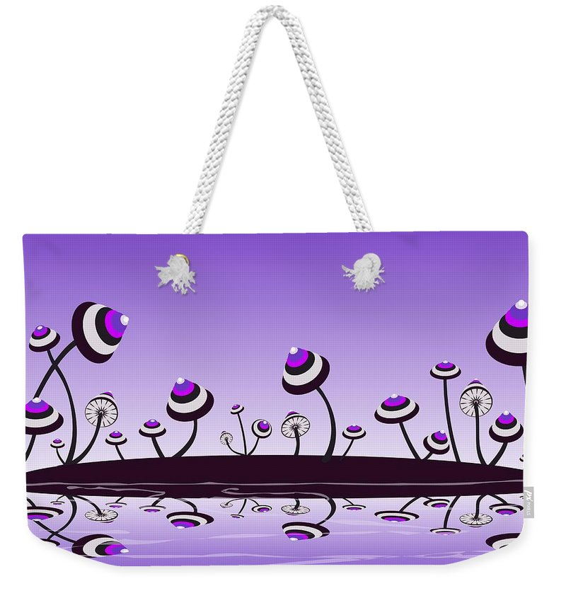 Mushroom Weekender Tote Bag featuring the digital art Peculiar Mushrooms by Anastasiya Malakhova