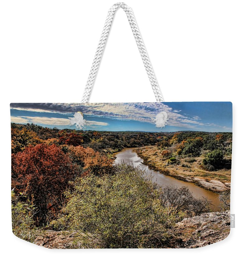 Reimer's Ranch Weekender Tote Bag featuring the photograph Pedernales River In Autumn by Judy Vincent