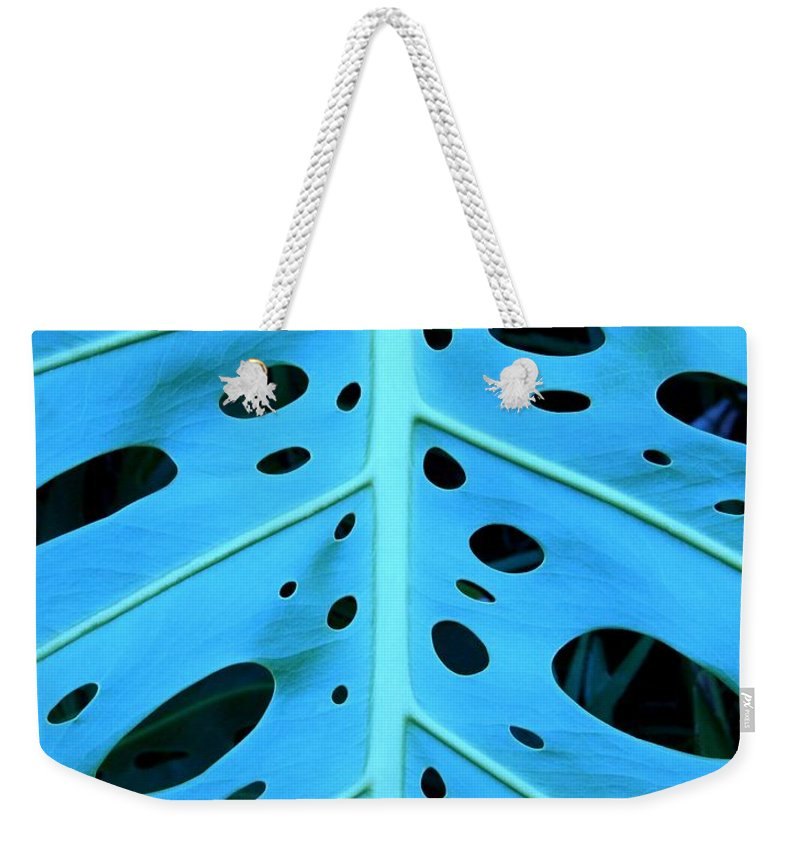 Blue Weekender Tote Bag featuring the photograph Peek-a-boo Leaf by Mary Deal