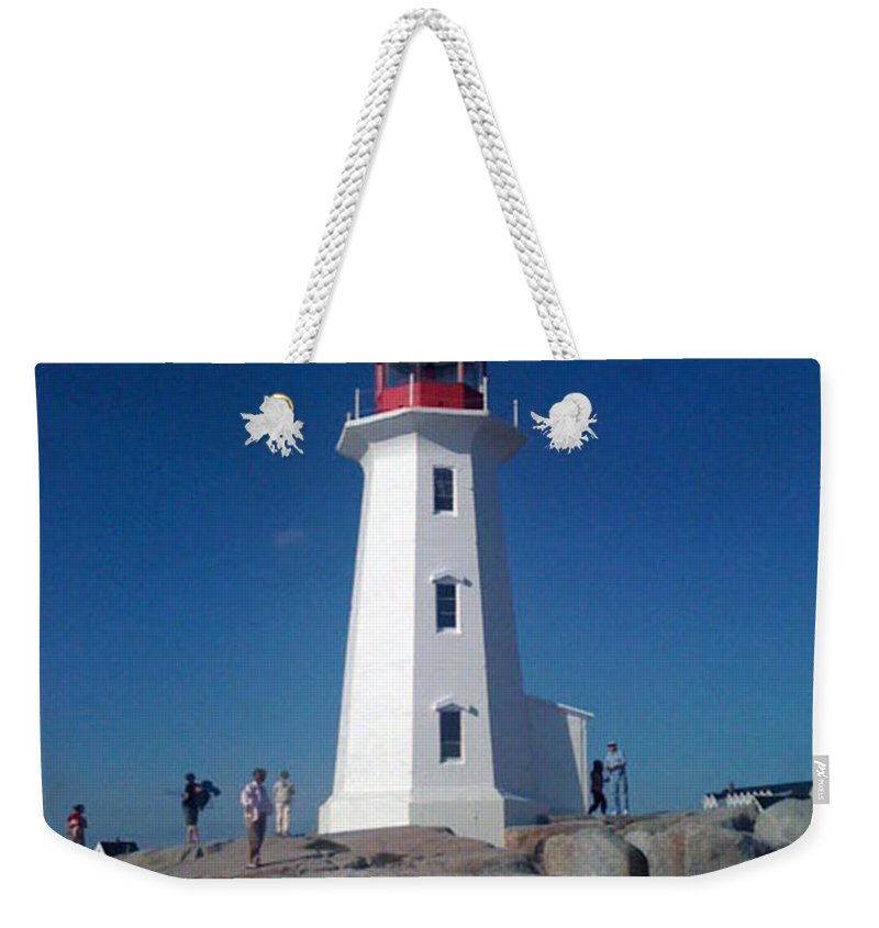 Lighthouse Weekender Tote Bag featuring the photograph Peggy's Cove Lighthouse by Brenda Brown