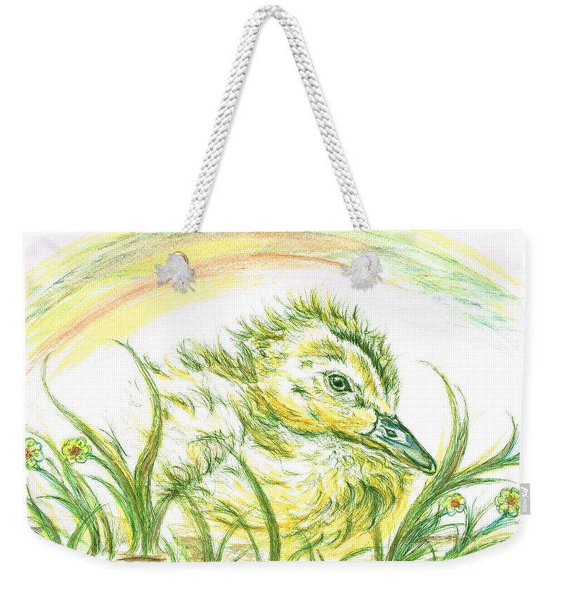 Teresa White Weekender Tote Bag featuring the painting Pekin Duckling by Teresa White