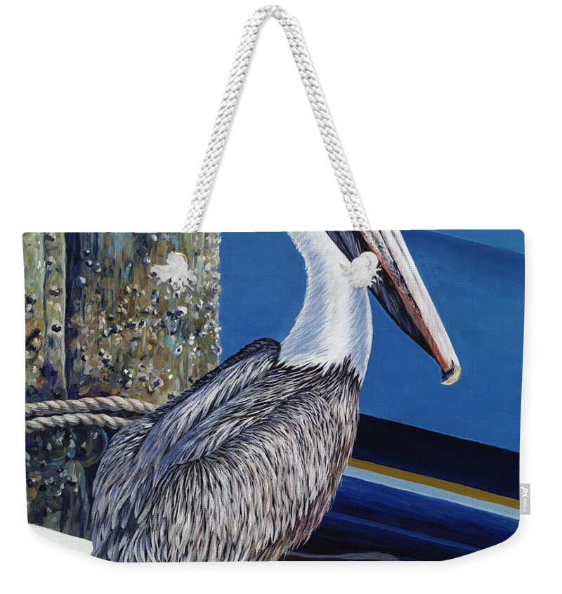 Pelican Weekender Tote Bag featuring the painting Pelican Blues by Danielle Perry