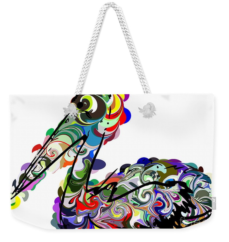Colorful Abstract Pelican Weekender Tote Bag featuring the digital art Pelican by Chris Butler