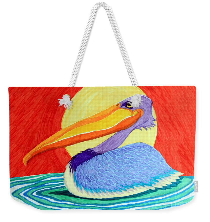 Pelican Weekender Tote Bag featuring the drawing Pelican In The Sun by Nick Gustafson