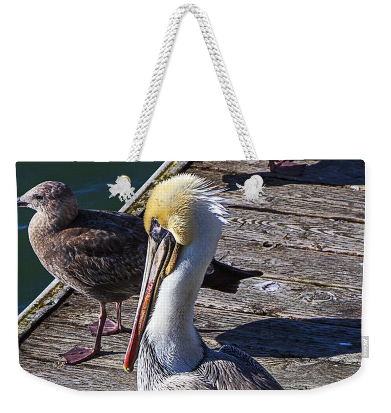 Pelican Weekender Tote Bag featuring the photograph Pelican On Dock by Garry Gay