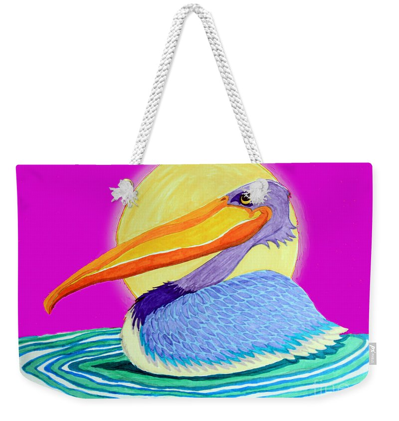 Pelican Weekender Tote Bag featuring the drawing Pelican On The Water 2 by Nick Gustafson