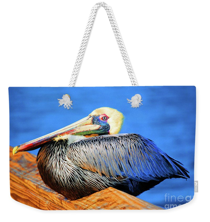 Pelican Weekender Tote Bag featuring the photograph Pelican Rest by Jost Houk