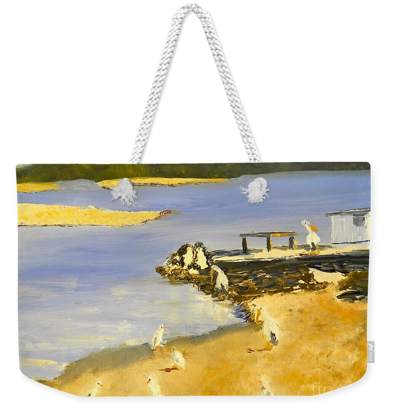 Impressionism Weekender Tote Bag featuring the painting Pelicans On The Shore by Pamela Meredith