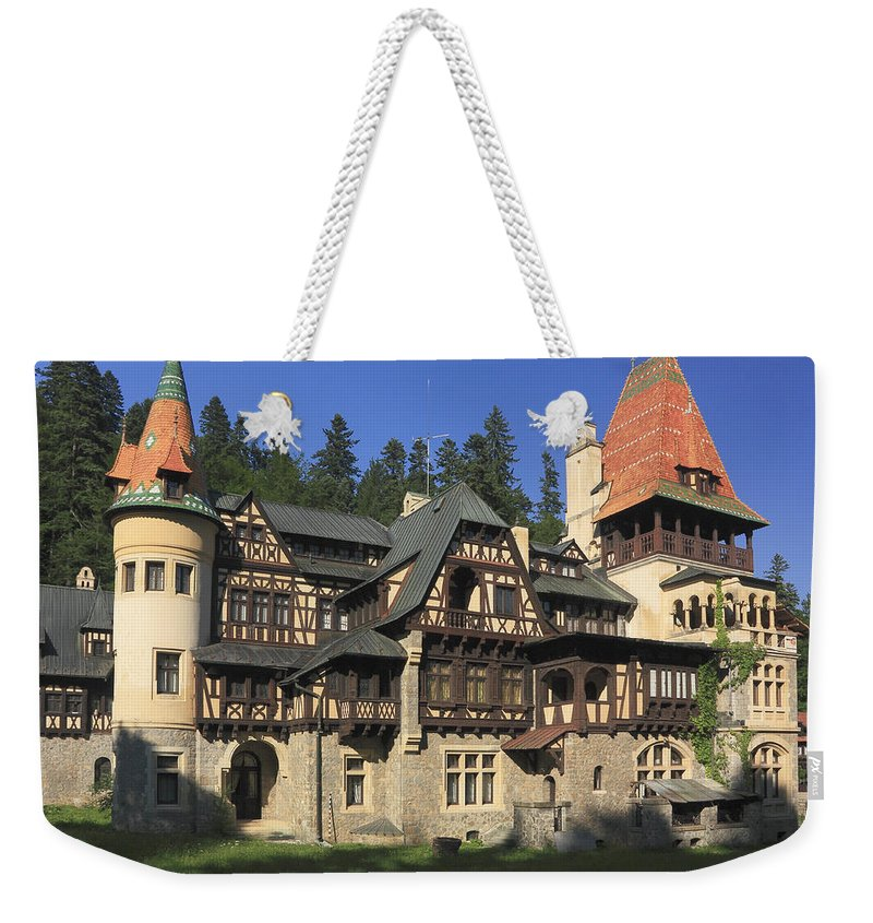 Architecture Weekender Tote Bag featuring the photograph Pelisor Castle Sinaia Romania by Ivan Pendjakov