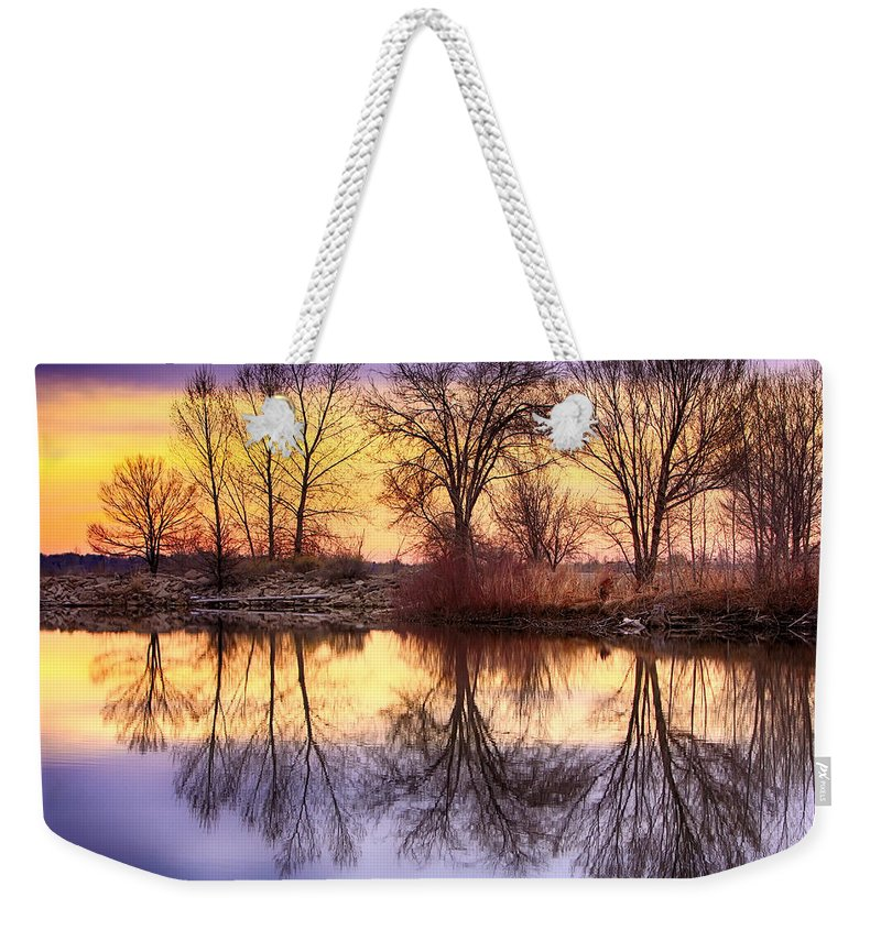 Sunrise Weekender Tote Bag featuring the photograph Pella Crossing Sunrise Reflections Hdr by James BO Insogna