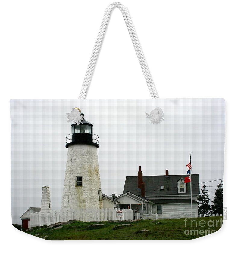 Lighthouse Weekender Tote Bag featuring the photograph Pemaquid Point Light In The Rain - Maine by Christiane Schulze Art And Photography