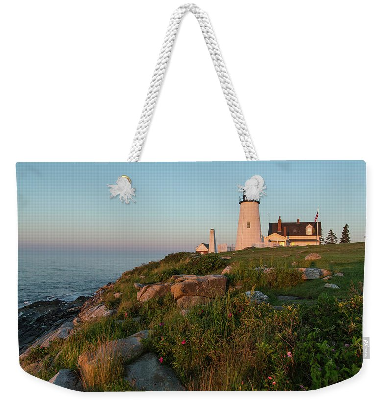 Tranquility Weekender Tote Bag featuring the photograph Pemaquid Point Maine Lighthouse by Dave Mention Photography