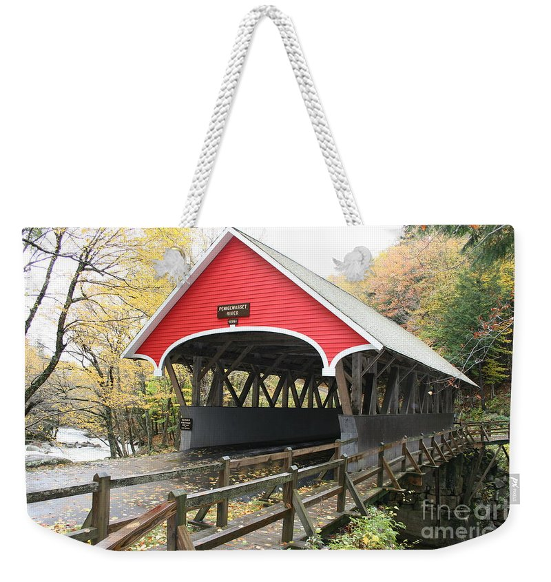 Covered Bridge Weekender Tote Bag featuring the photograph Pemigewasset River Covered Bridge In Fall by Christiane Schulze Art And Photography