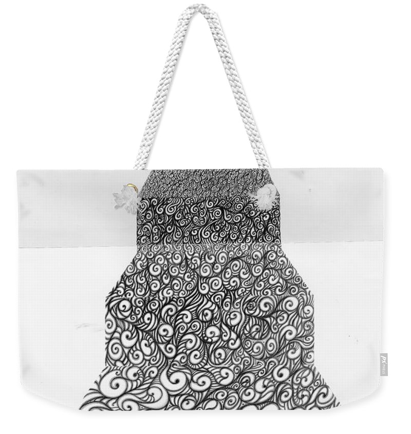 Black And White Weekender Tote Bag featuring the drawing Pen And Ink Staircase by Karma Moffett