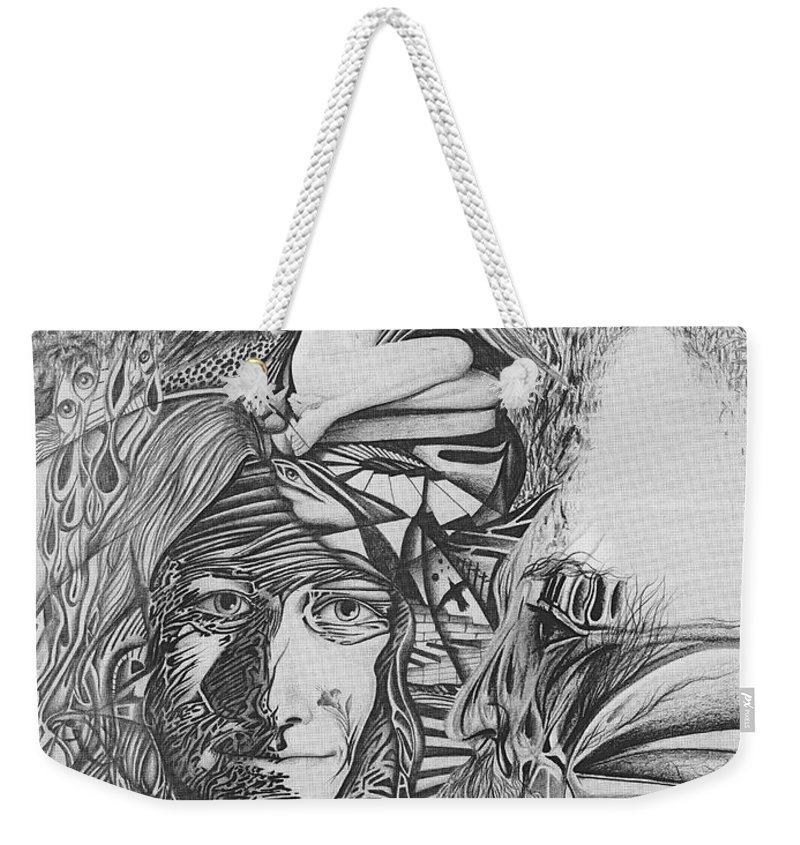 Meditation Weekender Tote Bag featuring the drawing Pen And Ink World 3 by Karma Moffett