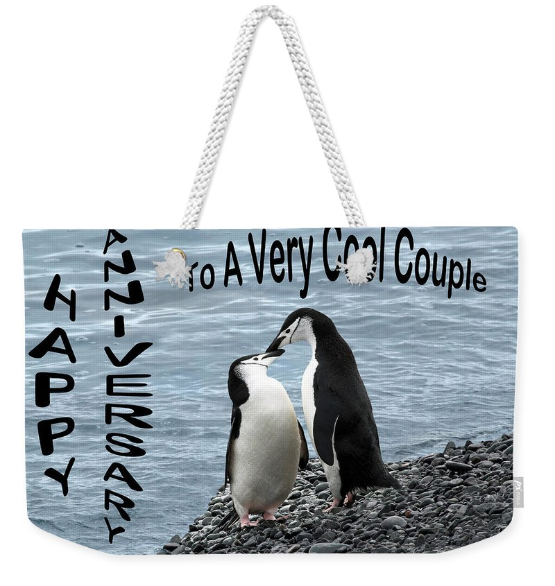 Anniversary Weekender Tote Bag featuring the photograph Penguin Anniversary Card by Ginny Barklow