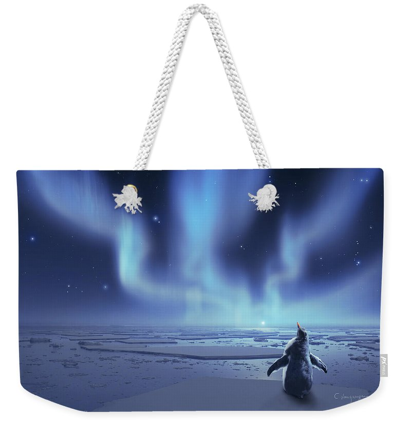 Ice Weekender Tote Bag featuring the digital art Penguin Dreams by Cassiopeia Art