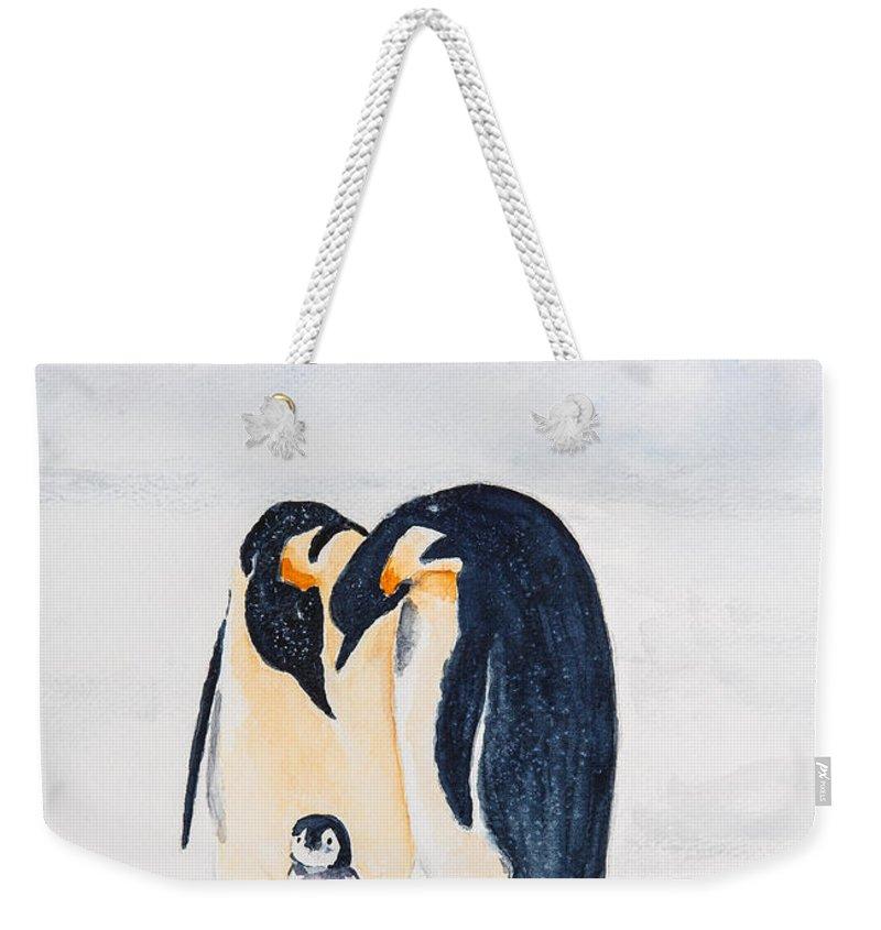 Birds Penguins Weekender Tote Bag featuring the painting Penguin Family by Elvira Ingram