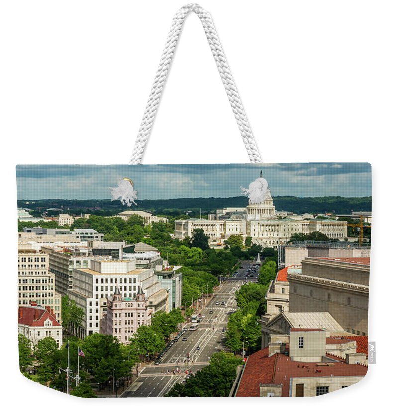 Built Structure Weekender Tote Bag featuring the photograph Pennsylvania Avenue Leading Up To The by Miralex