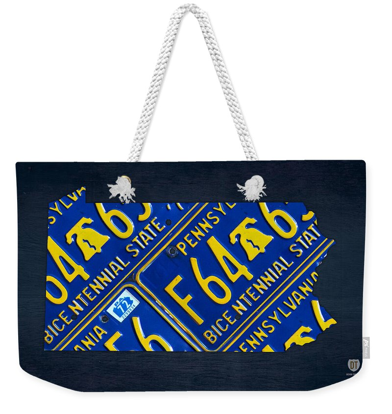 Pennsylvania Weekender Tote Bag featuring the mixed media Pennsylvania State License Plate Map by Design Turnpike