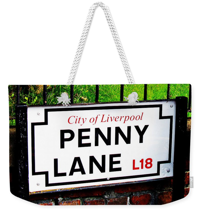 Penny Lane Weekender Tote Bag featuring the photograph Penny Lane Sign City Of Liverpool England by Tom Conway