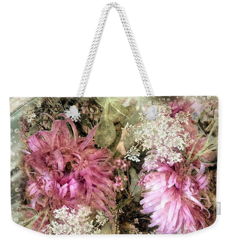 Flowers Weekender Tote Bag featuring the painting Penny Postcard Pearlescent by RC DeWinter