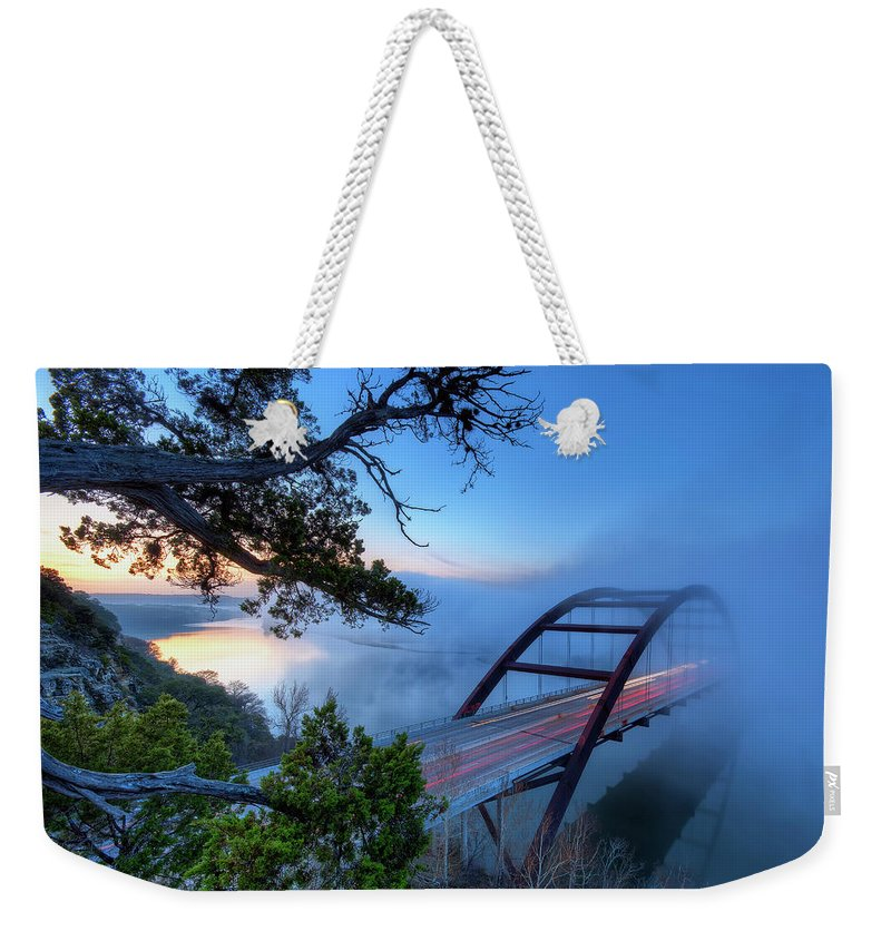 Tranquility Weekender Tote Bag featuring the photograph Pennybacker Bridge In Morning Fog by Evan Gearing Photography