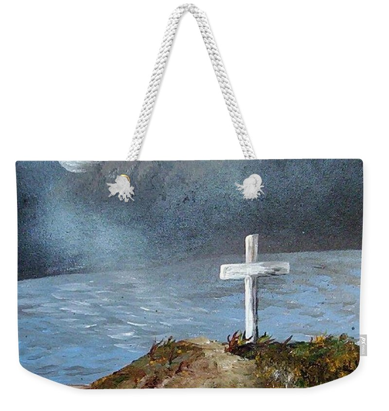 Cross Weekender Tote Bag featuring the painting Pensacola Beach By The Light Of The Moon by Eloise Schneider Mote