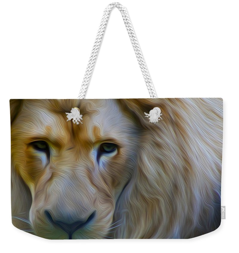 Dreamscope Photography.lion Weekender Tote Bag featuring the photograph Pensive by Kathryn Potempski